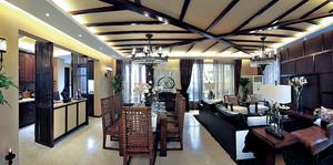 120平米古朴东南亚风格精致室内装修效果图案例