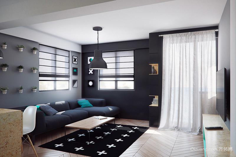 57平米现代简约风格冷色调单身公寓装修效果图