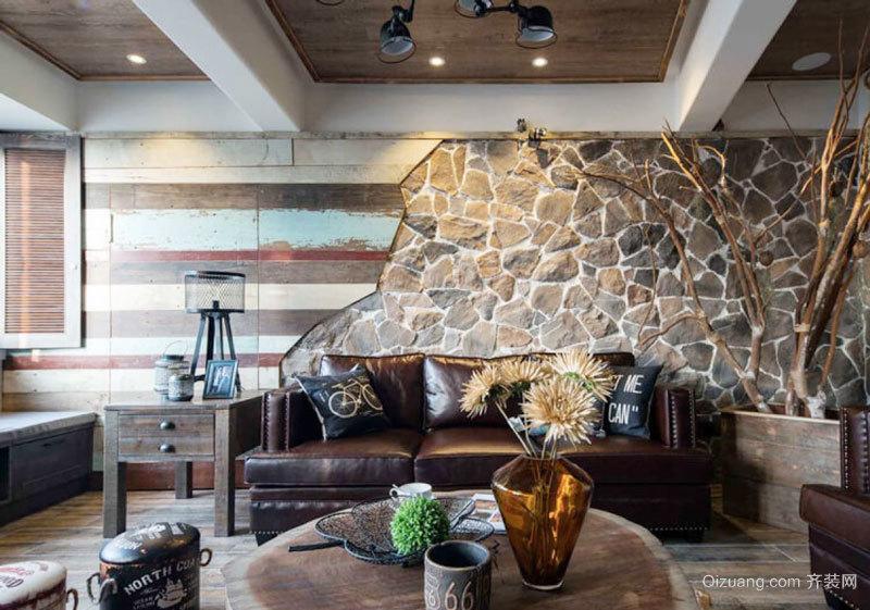 复古风格时尚创意客厅背景墙装修效果图欣赏