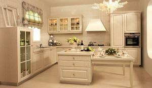 欧式风格别墅室内浅色精美厨房橱柜装修效果图