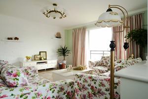 131平米欧式田园风格温馨两室两厅室内装修效果图案例