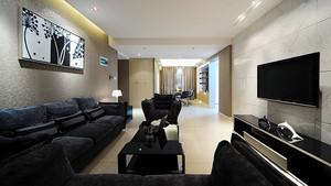 119平米现代风格黑色调三室两厅装修效果图赏析