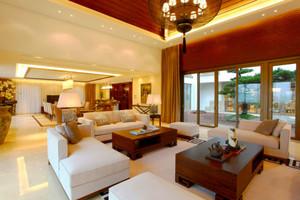 中式风格精致别墅客厅设计装修效果图