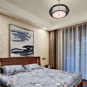 中式风格简约创意卧室背景墙装修效果图