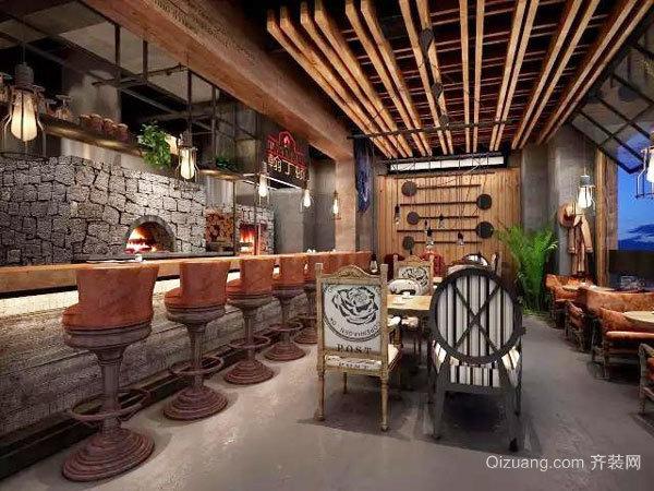76平米乡村风格餐厅吧台设计装修效果图赏析