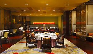 120平米中式风格酒店餐厅设计装修效果图赏析