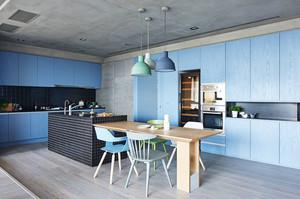 北欧风格清新蓝色厨房餐厅装修效果图赏析