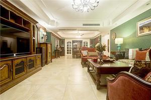 140平米复古美式风格大户型室内装修效果图案例