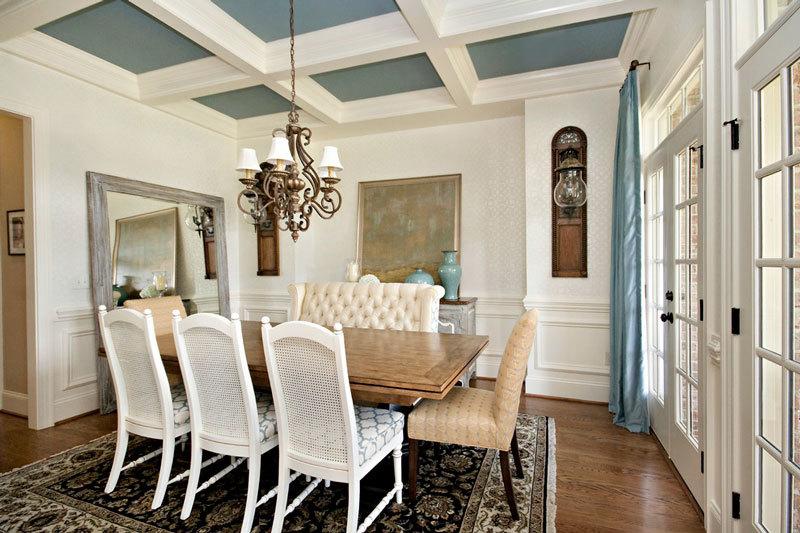 清新美式风格别墅精美餐厅吊顶设计装修效果图