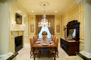 古典欧式风格别墅室内典雅餐厅设计装修效果图