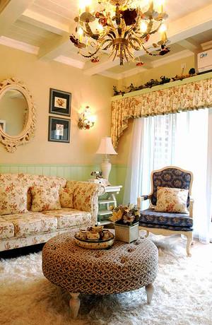 134平米欧式田园风格简约三室两厅室内装修效果图