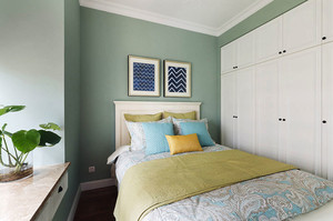 清新风格精美卧室整体衣柜设计装修效果图