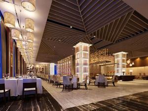 200平米新中式风格酒店餐厅装修效果图赏析