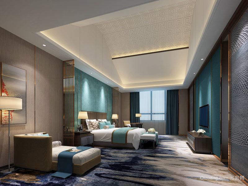 66平米新中式风格酒店客房设计装修效果图赏析