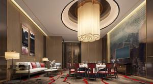 80平米中式风格精致酒店大包厢设计装修效果图