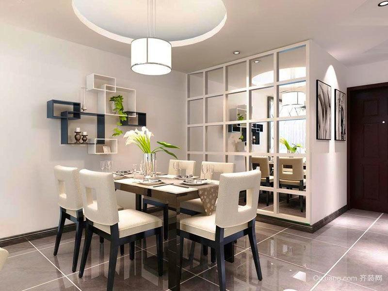 现代简约风格创意圆形餐厅吊顶设计装修效果图