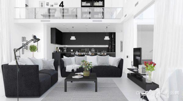 现代简约风格黑白色客厅装修效果图大全赏析