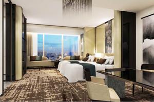 现代简约风格宾馆标准间装修效果图赏析