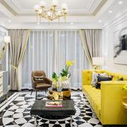 时尚美式风格大户型精致客厅飘窗设计装修效果图
