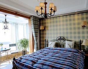 美式风格大户型精致主卧室带阳台设计装修效果图