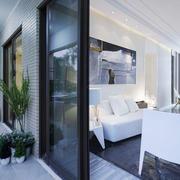 现代简约风格客厅阳台设计装修效果图