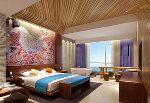 新中式风格精品酒店客房装修效果图案例