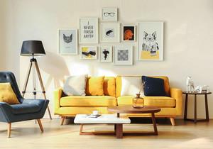 北欧风格小户型活力客厅照片墙装修效果图