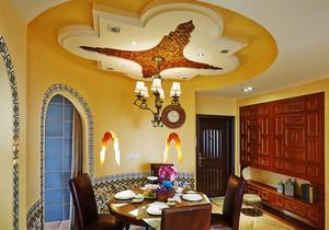 混搭风格精致室内圆形餐厅吊顶装修效果图赏析