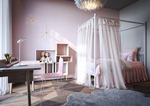 简欧风格粉色简约公主房儿童房设计装修效果图