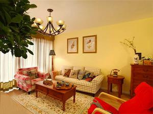 119平米美式田园风格三室两厅室内装修效果图案例
