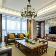 新中式风格大户型精致客厅电视背景墙装修效果图
