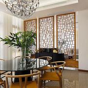 中式风格简约餐厅隔断设计装修效果图赏析