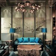 中式风格古典雅致客厅背景墙装修效果图欣赏