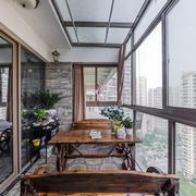 中式风格简约休闲阳台设计装修效果图欣赏