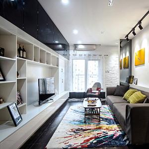 75平米混搭风格精致一居室室内装修效果图案例