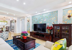 混搭风格时尚客厅电视背景墙装修效果图赏析