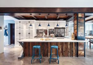 美式风格大户型精致开放式厨房吧台装修效果图