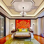 新中式风格别墅室内华丽卧室背景墙装修效果图