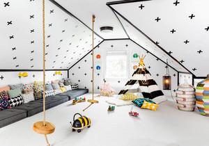 北欧风格简约阁楼儿童房设计装修效果图赏析
