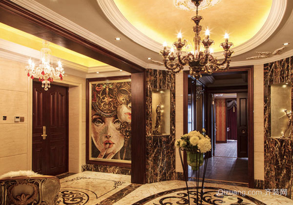 古典欧式风格别墅玄关吊顶设计装修效果图赏析