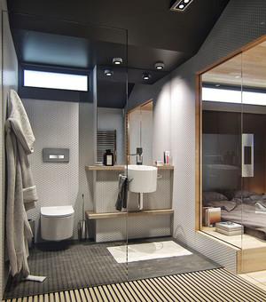 58平米现代简约风格loft单身公寓装修效果图