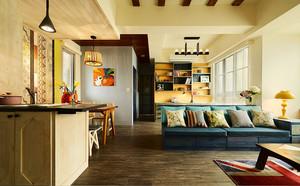 95平米美式田园风格温馨两室两厅装修效果图案例
