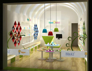 40平米现代简约风格儿童鞋店设计装修效果图