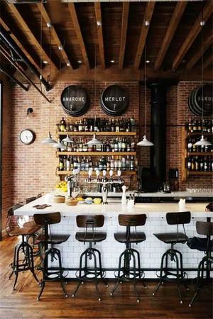 乡村风格古朴创意酒吧吧台设计装修效果图