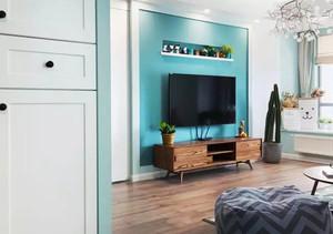 90平米北欧风格清爽蓝色室内装修效果图鉴赏