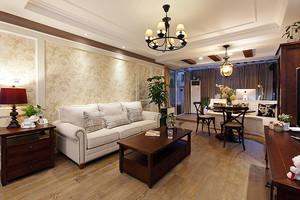 126平米美式风格精美三室两厅室内装修效果图案例
