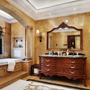 美式风格别墅室内古典卫生间浴室柜装修效果图