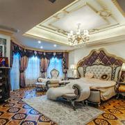 欧式风格别墅室内精致典雅卧室吊顶设计装修效果图