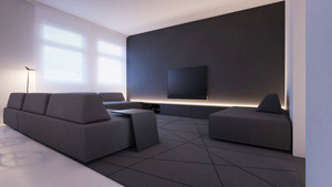 现代简约风格黑白色调客厅装修效果图大全