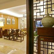 中式风格古典客厅隔断设计装修效果图